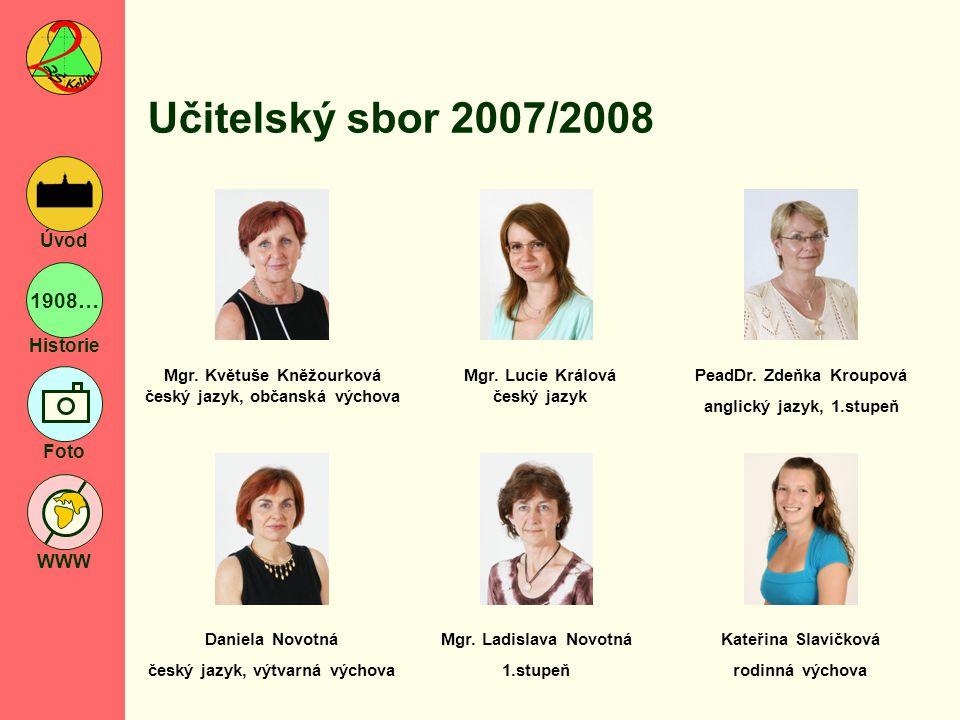 1908… Historie Foto WWW Úvod Učitelský sbor 2007/2008 Pavel Soukup tělesná výchova Mgr.