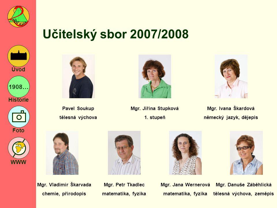 1908… Historie Foto WWW Úvod Vychovatelky a nepedagogičtí zaměstnanci 2007/2008 Blanka Čábelová vychovatelka Iva Jarošová vychovatelka Ing.