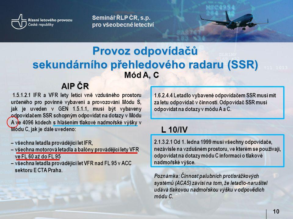 Seminář ŘLP ČR, s.p. pro všeobecné letectví 10 Provoz odpovídačů sekundárního přehledového radaru (SSR) AIP ČR 1.6.2.4.4 Letadlo vybavené odpovídačem