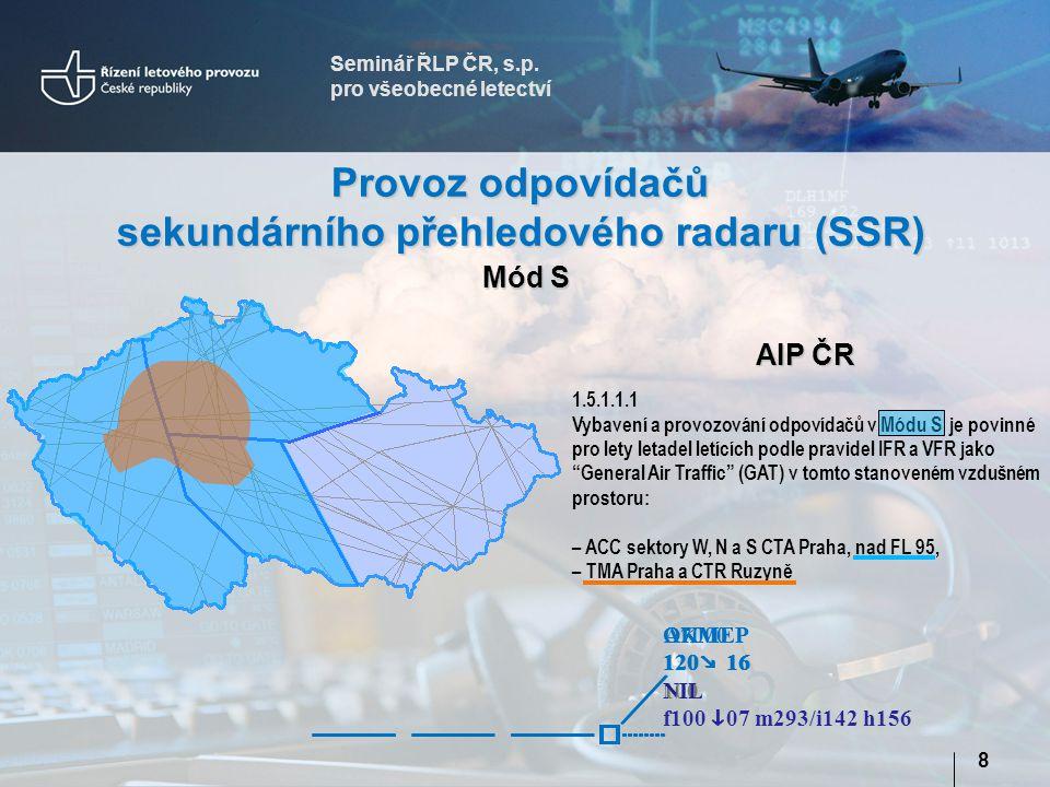 Seminář ŘLP ČR, s.p. pro všeobecné letectví 8 Provoz odpovídačů sekundárního přehledového radaru (SSR) AIP ČR 1.5.1.1.1 Vybavení a provozování odpovíd