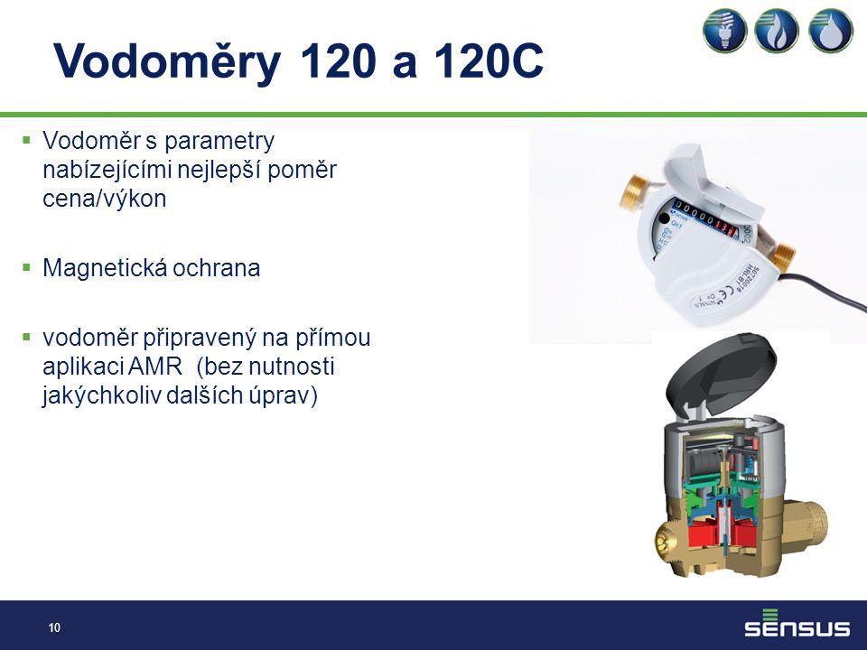 Vodoměry 120 a 120C 10  Vodoměr s parametry nabízejícími nejlepší poměr cena/výkon  Magnetická ochrana  vodoměr připravený na přímou aplikaci AMR (bez nutnosti jakýchkoliv dalších úprav)