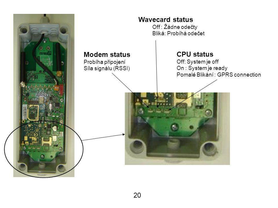 20 CPU status Off: System je off On : System je ready Pomalé Blikání : GPRS connection Wavecard status Off : Žádne odečty Bliká: Probíhá odečet Modem status Probíha připojení Síla signálu (RSSI) LED descriptions