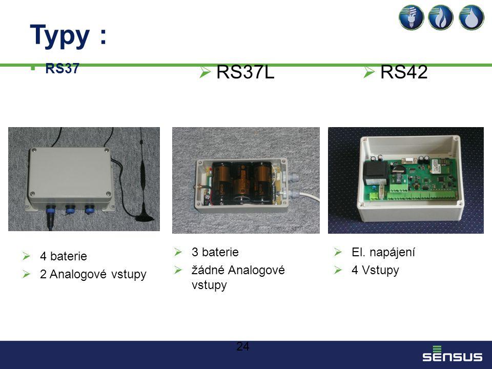 24 Typy :  RS37  RS37L  RS42  4 baterie  2 Analogové vstupy  3 baterie  žádné Analogové vstupy  El.