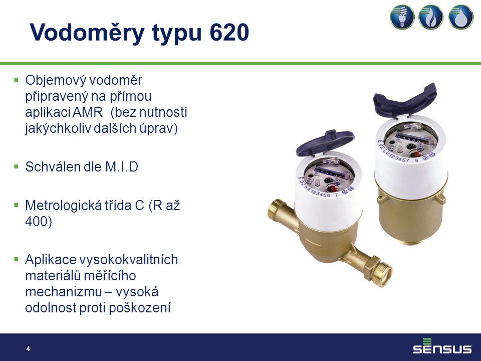 Vodoměry typu 620 4  Objemový vodoměr připravený na přímou aplikaci AMR (bez nutnosti jakýchkoliv dalších úprav)  Schválen dle M.I.D  Metrologická třída C (R až 400)  Aplikace vysokokvalitních materiálů měřícího mechanizmu – vysoká odolnost proti poškození