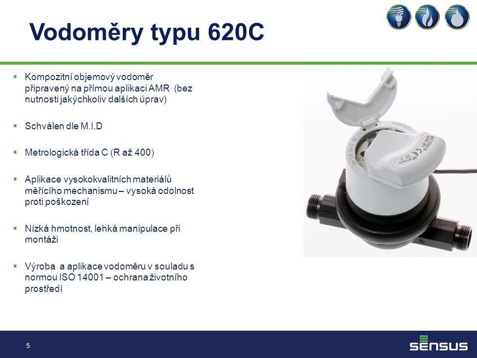 Vodoměry typu 620C 5  Kompozitní objemový vodoměr připravený na přímou aplikaci AMR (bez nutnosti jakýchkoliv dalších úprav)  Schválen dle M.I.D  Metrologická třída C (R až 400)  Aplikace vysokokvalitních materiálů měřícího mechanismu – vysoká odolnost proti poškození  Nízká hmotnost, lehká manipulace při montáži  Výroba a aplikace vodoměru v souladu s normou ISO 14001 – ochrana životního prostředí