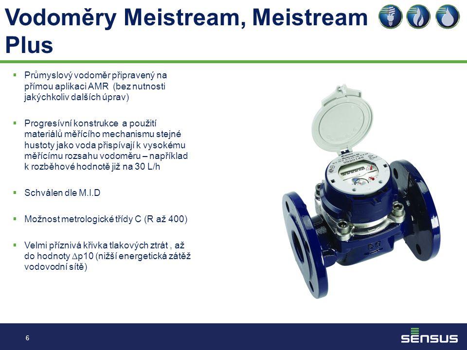 Vodoměry Meistream, Meistream Plus 6  Průmyslový vodoměr připravený na přímou aplikaci AMR (bez nutnosti jakýchkoliv dalších úprav)  Progresívní konstrukce a použití materiálů měřícího mechanismu stejné hustoty jako voda přispívají k vysokému měřícímu rozsahu vodoměru – například k rozběhové hodnotě již na 30 L/h  Schválen dle M.I.D  Možnost metrologické třídy C (R až 400)  Velmi příznivá křivka tlakových ztrát, až do hodnoty ∆p10 (nižší energetická zátěž vodovodní sítě)