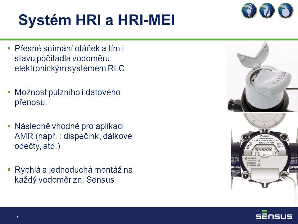 Systém HRI a HRI-MEI  Přesné snímání otáček a tím i stavu počítadla vodoměru elektronickým systémem RLC.