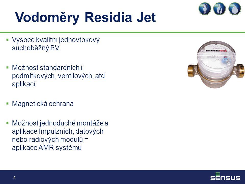 Vodoměry Residia Jet 9  Vysoce kvalitní jednovtokový suchoběžný BV.