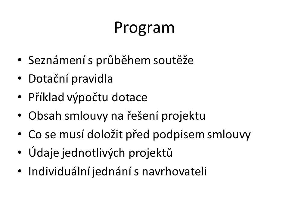 Program • Seznámení s průběhem soutěže • Dotační pravidla • Příklad výpočtu dotace • Obsah smlouvy na řešení projektu • Co se musí doložit před podpisem smlouvy • Údaje jednotlivých projektů • Individuální jednání s navrhovateli