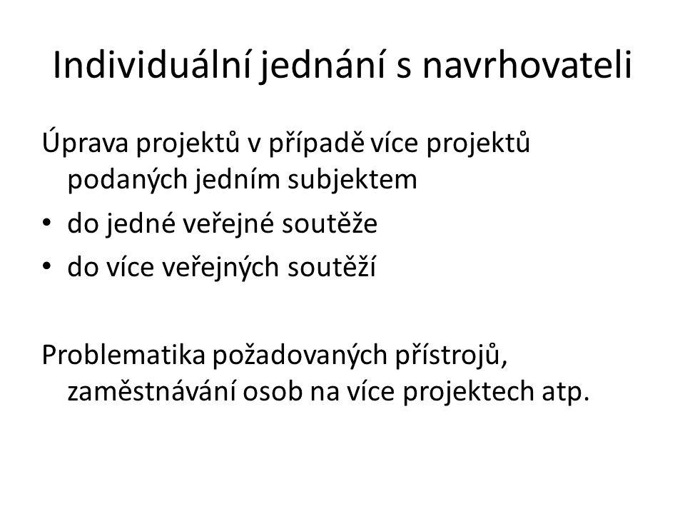 Individuální jednání s navrhovateli Úprava projektů v případě více projektů podaných jedním subjektem • do jedné veřejné soutěže • do více veřejných soutěží Problematika požadovaných přístrojů, zaměstnávání osob na více projektech atp.