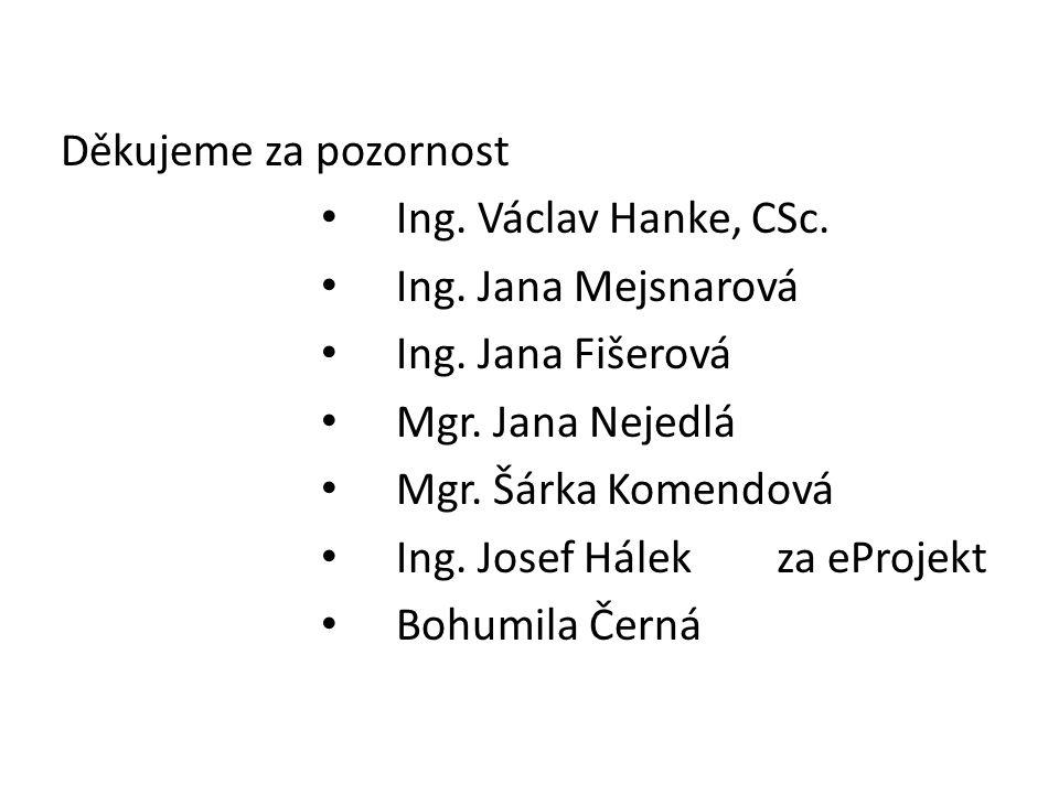 Děkujeme za pozornost • Ing. Václav Hanke, CSc. • Ing.