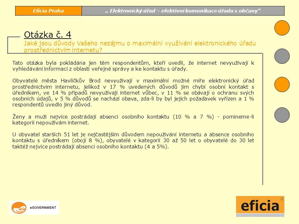 """Eficia Praha"""" Elektronický úřad – efektivní komunikace úřadu s občany Tato otázka byla pokládána jen těm respondentům, kteří uvedli, že internet nevyužívají k vyhledávání informací z oblasti veřejné správy a ke kontaktu s úřady."""