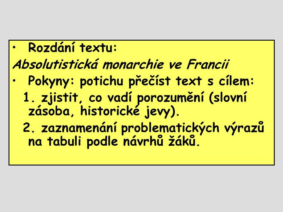 •Rozdání textu: Absolutistická monarchie ve Francii •Pokyny: potichu přečíst text s cílem: 1. zjistit, co vadí porozumění (slovní zásoba, historické j