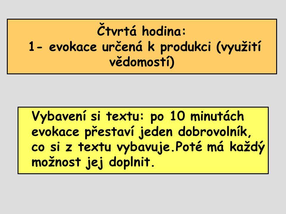 Čtvrtá hodina: 1- evokace určená k produkci (využití vědomostí) Vybavení si textu: po 10 minutách evokace přestaví jeden dobrovolník, co si z textu vybavuje.Poté má každý možnost jej doplnit.