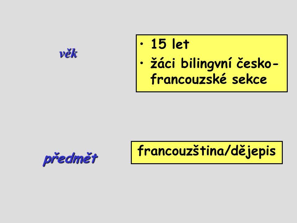 věk •15 let •žáci bilingvní česko- francouzské sekce francouzština/dějepis předmět