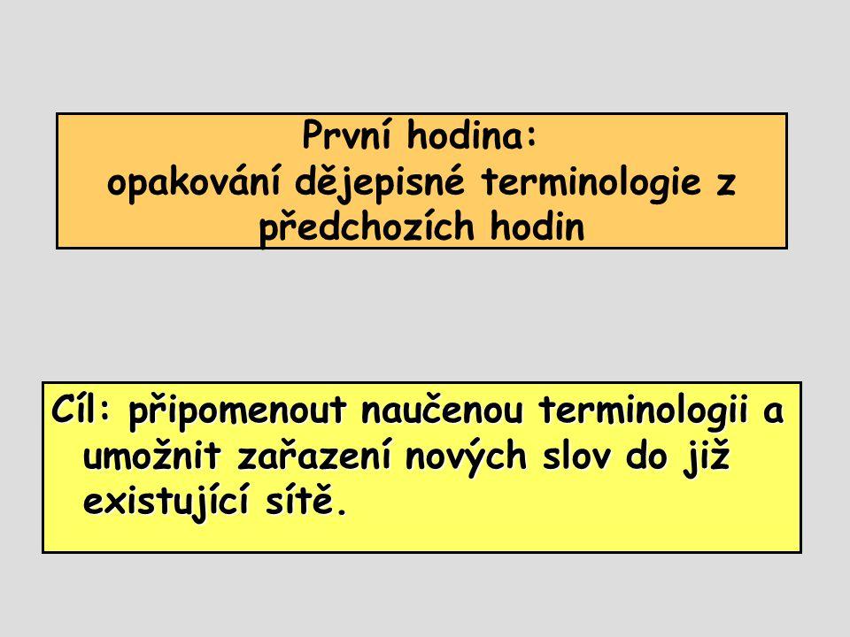 První hodina: opakování dějepisné terminologie z předchozích hodin Cíl: připomenout naučenou terminologii a umožnit zařazení nových slov do již existu