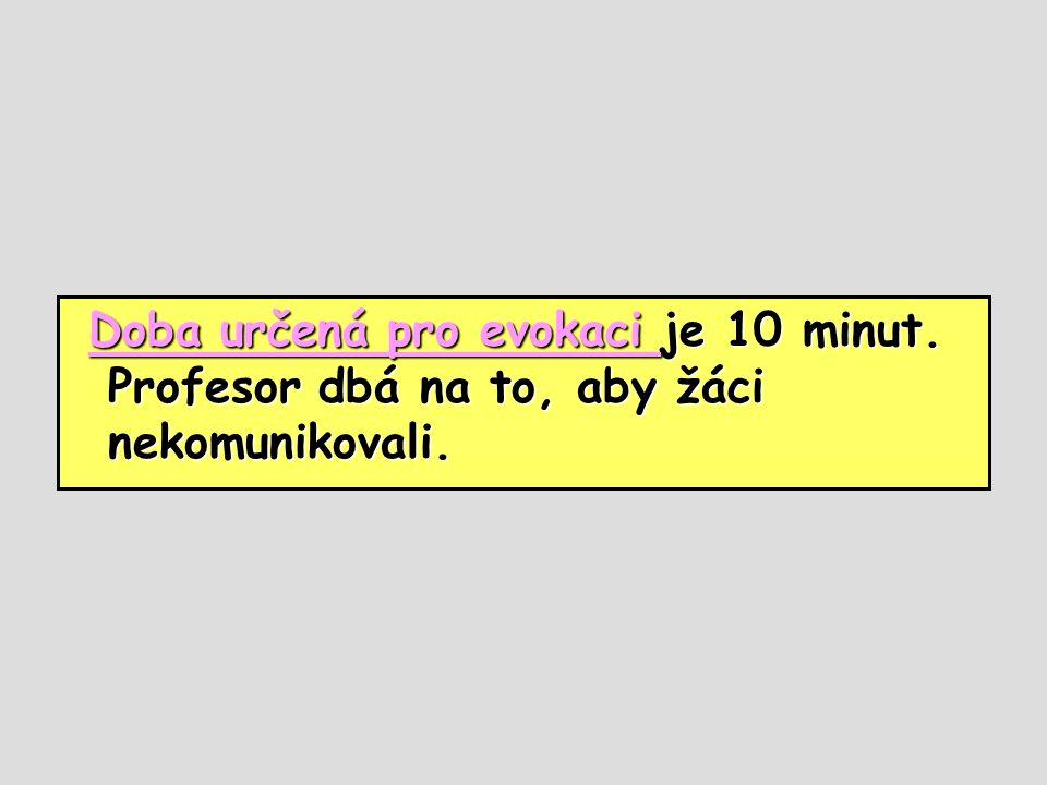 Doba určená pro evokaci je 10 minut. Profesor dbá na to, aby žáci nekomunikovali. Doba určená pro evokaci je 10 minut. Profesor dbá na to, aby žáci ne