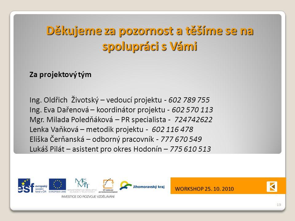Děkujeme za pozornost a těšíme se na spolupráci s Vámi Za projektový tým Ing.