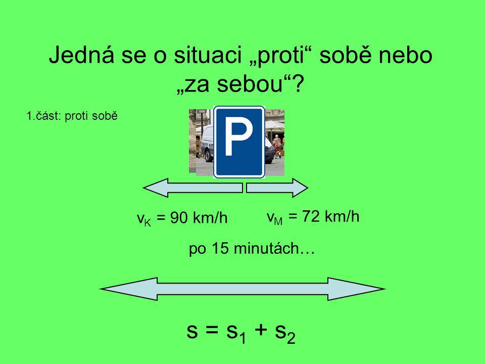 """Jedná se o situaci """"proti"""" sobě nebo """"za sebou""""? v K = 90 km/h v M = 72 km/h po 15 minutách… s = s 1 + s 2 1.část: proti sobě"""