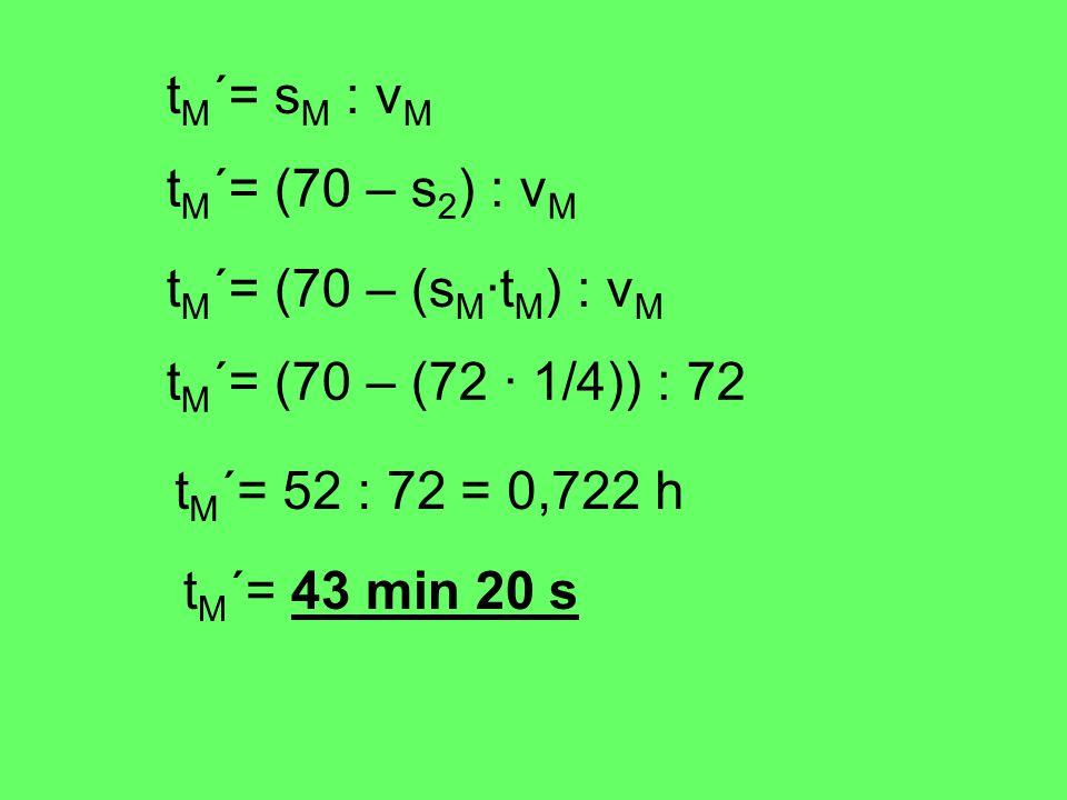 t M ´= s M : v M t M ´= (70 – s 2 ) : v M t M ´= (70 – (s M ·t M ) : v M t M ´= (70 – (72 · 1/4)) : 72 t M ´= 52 : 72 = 0,722 h t M ´= 43 min 20 s