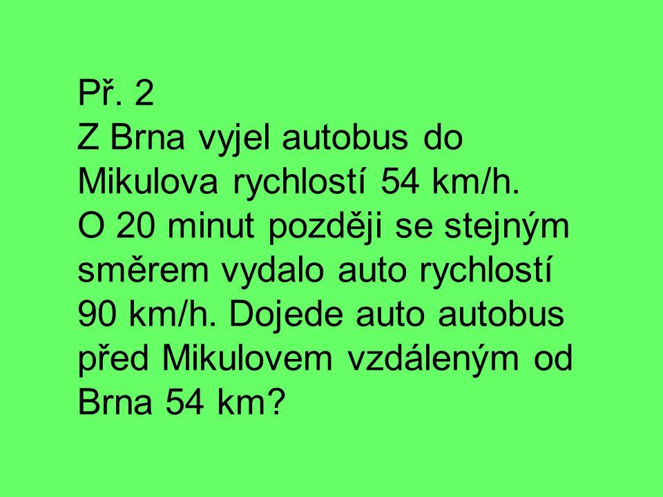 Př. 2 Z Brna vyjel autobus do Mikulova rychlostí 54 km/h. O 20 minut později se stejným směrem vydalo auto rychlostí 90 km/h. Dojede auto autobus před