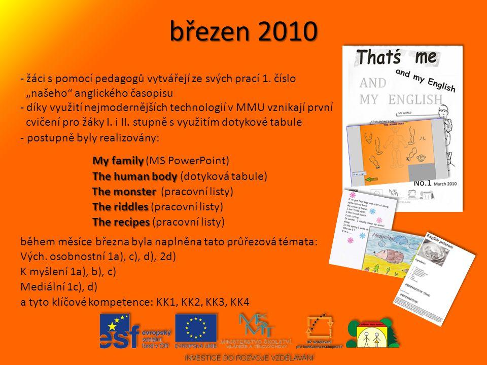 duben 2010 - žáci s pomocí pedagogů vytvářejí ze svých prací 2.