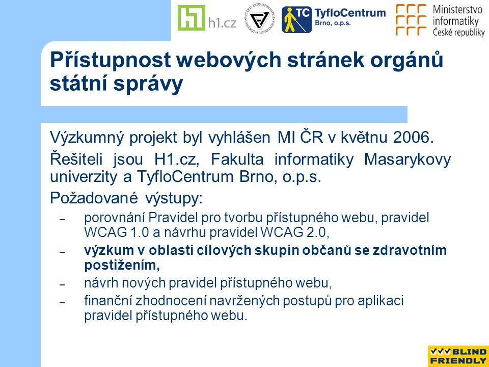 Výzkum v oblasti cílových skupin občanů se zdravotním postižením Personální zabezpečení Fakulta informatiky, Masarykova univerzita Brno RNDr.