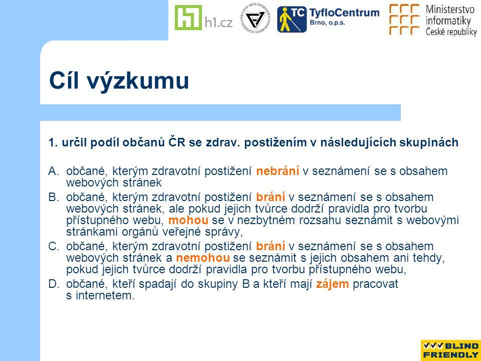 Cíl výzkumu 1. určil podíl občanů ČR se zdrav.