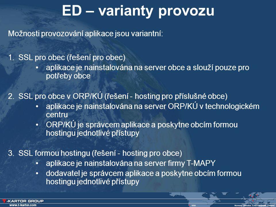 www.t-kartor.com ED – varianty provozu Možnosti provozování aplikace jsou variantní: 1.SSL pro obec (řešení pro obec) •aplikace je nainstalována na se