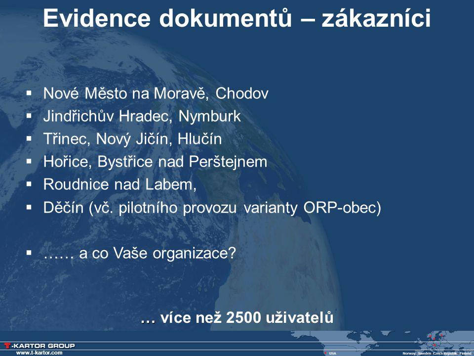 www.t-kartor.com Evidence dokumentů – zákazníci  Nové Město na Moravě, Chodov  Jindřichův Hradec, Nymburk  Třinec, Nový Jičín, Hlučín  Hořice, Bys