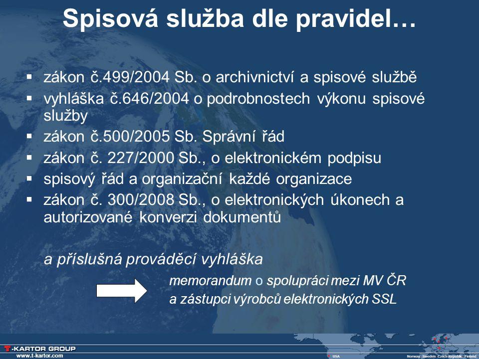 www.t-kartor.com Spisová služba dle pravidel…  zákon č.499/2004 Sb. o archivnictví a spisové službě  vyhláška č.646/2004 o podrobnostech výkonu spis