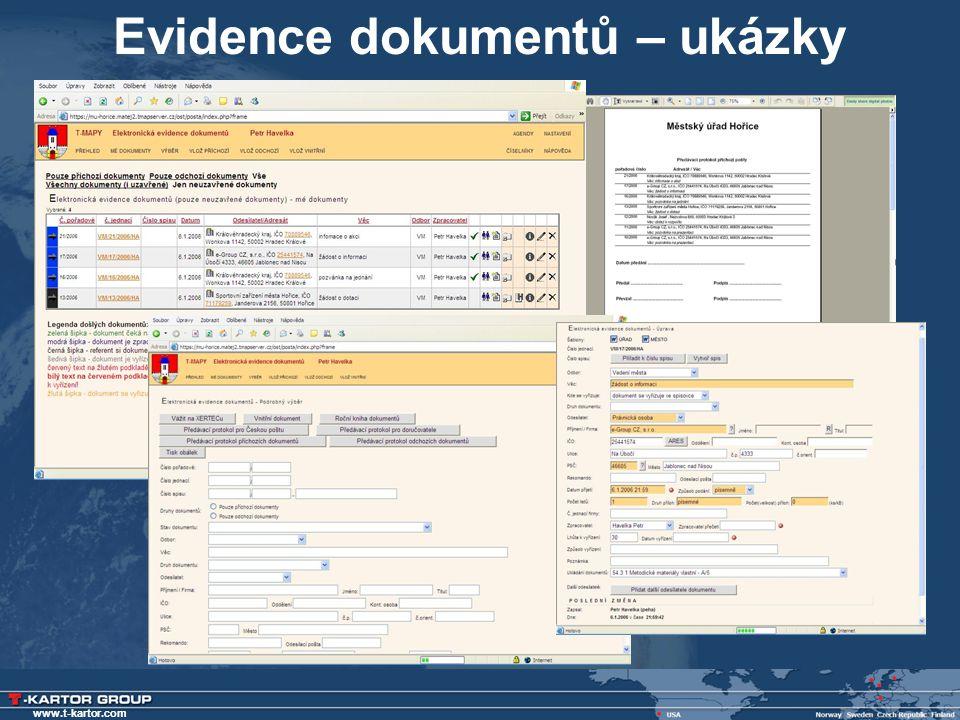 www.t-kartor.com Evidence dokumentů – ukázky
