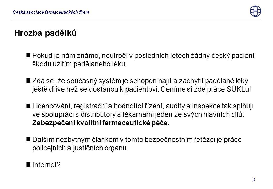 6 Česká asociace farmaceutických firem Hrozba padělků  Pokud je nám známo, neutrpěl v posledních letech žádný český pacient škodu užitím padělaného léku.