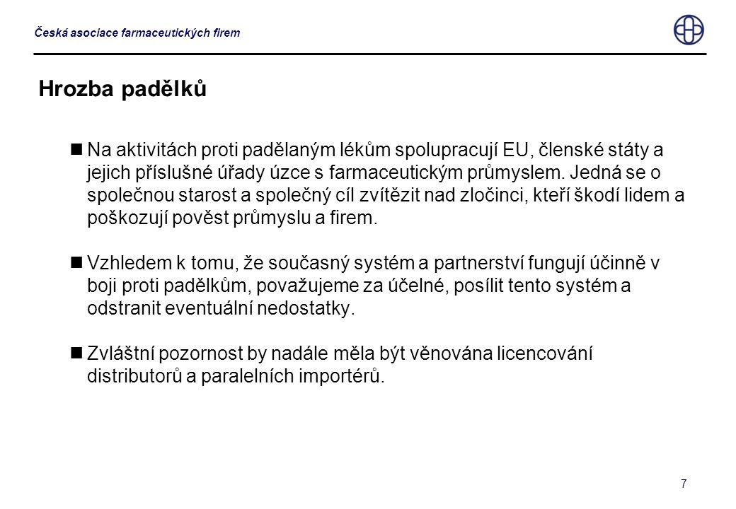 7 Česká asociace farmaceutických firem Hrozba padělků  Na aktivitách proti padělaným lékům spolupracují EU, členské státy a jejich příslušné úřady úz