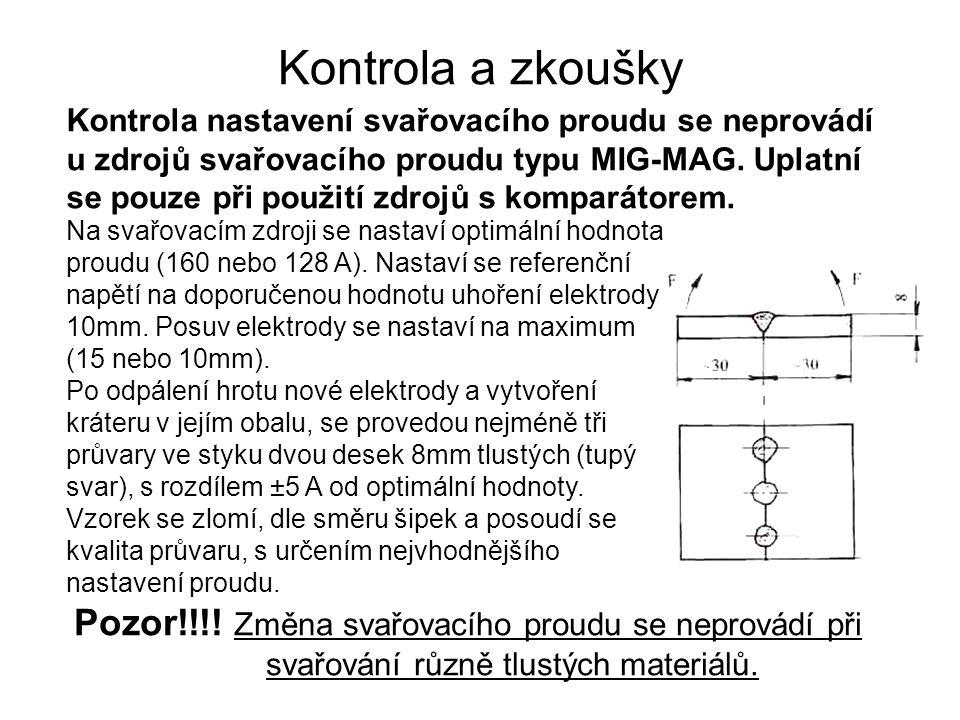 Kontrola a zkoušky Kontrola nastavení svařovacího proudu se neprovádí u zdrojů svařovacího proudu typu MIG-MAG. Uplatní se pouze při použití zdrojů s