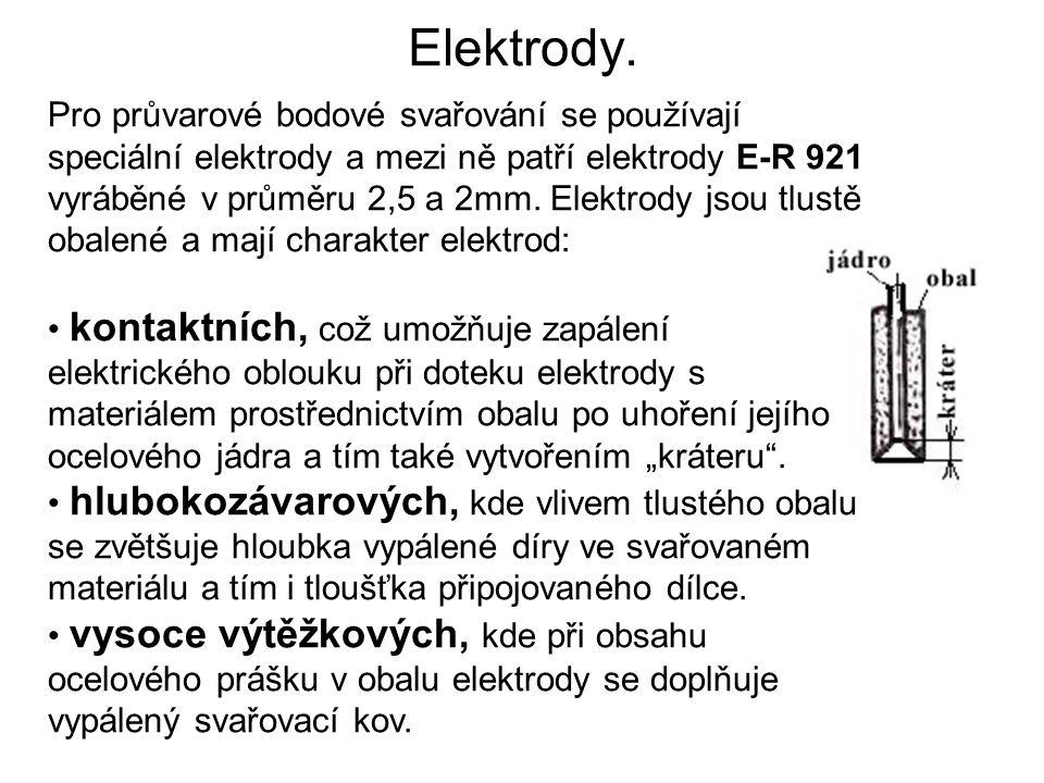 Elektrody. Pro průvarové bodové svařování se používají speciální elektrody a mezi ně patří elektrody E-R 921 vyráběné v průměru 2,5 a 2mm. Elektrody j