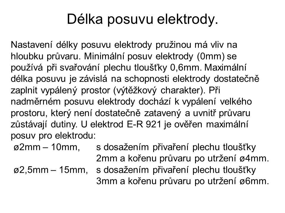 Délka posuvu elektrody. Nastavení délky posuvu elektrody pružinou má vliv na hloubku průvaru. Minimální posuv elektrody (0mm) se používá při svařování
