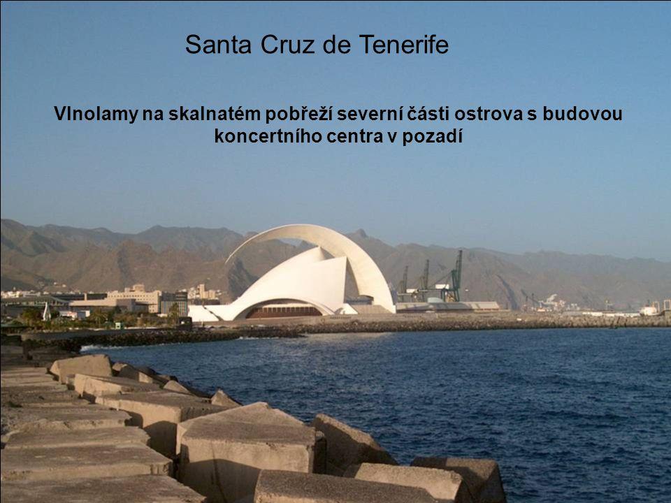 Santa Cruz de Tenerife Vlnolamy na skalnatém pobřeží severní části ostrova s budovou koncertního centra v pozadí