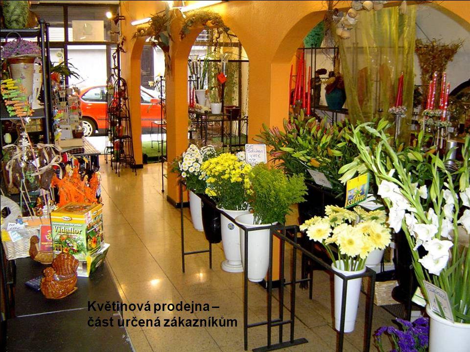 Květinová prodejna – část určená zákazníkům