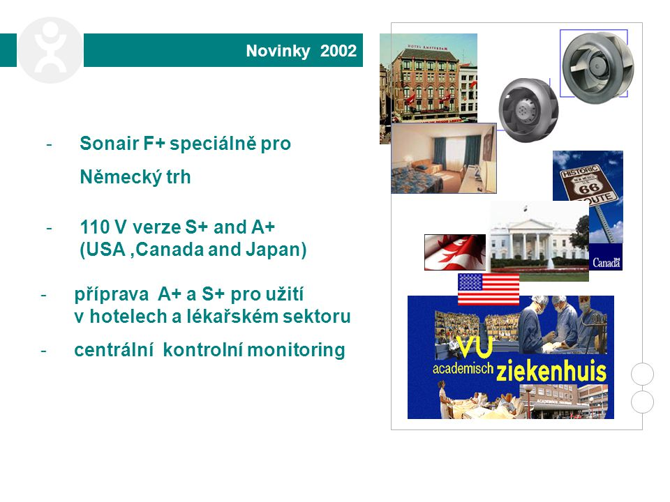 Novinky 2002 -Sonair F+ speciálně pro Německý trh -příprava A+ a S+ pro užití v hotelech a lékařském sektoru -centrální kontrolní monitoring -110 V verze S+ and A+ (USA,Canada and Japan)