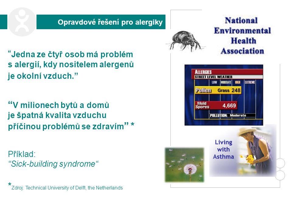 Opravdové řešení pro alergiky Jedna ze čtyř osob má problém s alergií, kdy nositelem alergenů je okolní vzduch. V milionech bytů a domů je špatná kvalita vzduchu příčinou problémů se zdravím * Příklad: Sick-building syndrome * Zdroj: Technical University of Delft, the Netherlands