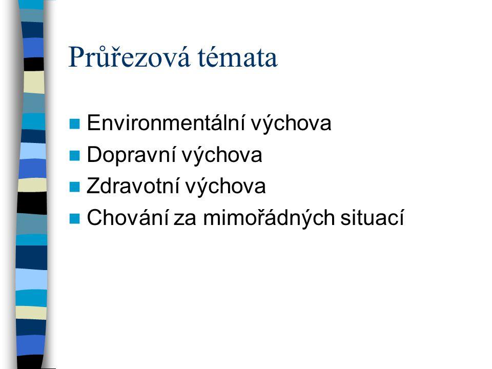Průřezová témata  Environmentální výchova  Dopravní výchova  Zdravotní výchova  Chování za mimořádných situací