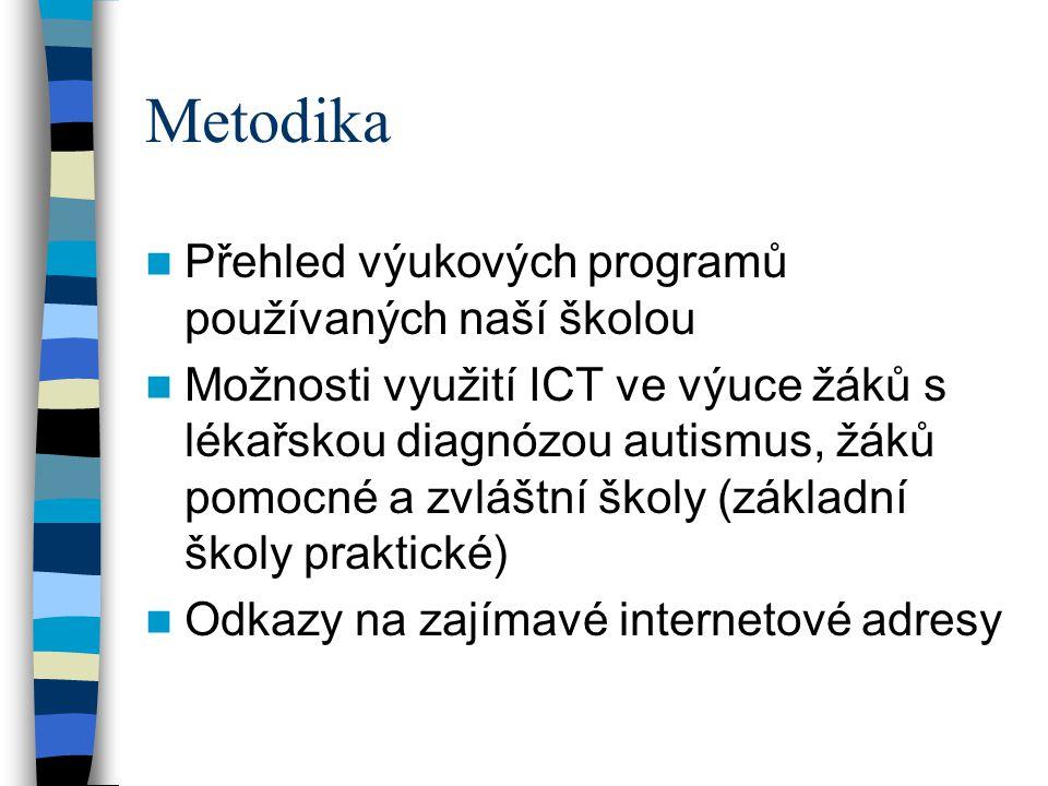 Metodika  Přehled výukových programů používaných naší školou  Možnosti využití ICT ve výuce žáků s lékařskou diagnózou autismus, žáků pomocné a zvlá