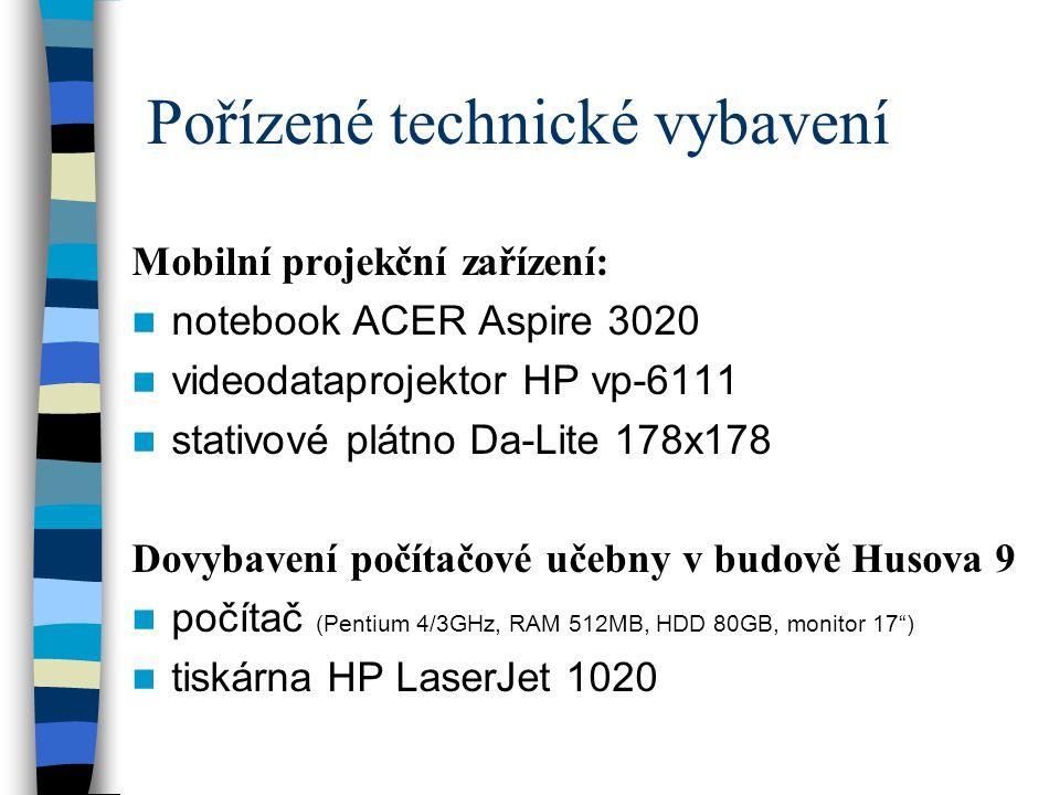 Pořízené technické vybavení Mobilní projekční zařízení:  notebook ACER Aspire 3020  videodataprojektor HP vp-6111  stativové plátno Da-Lite 178x178