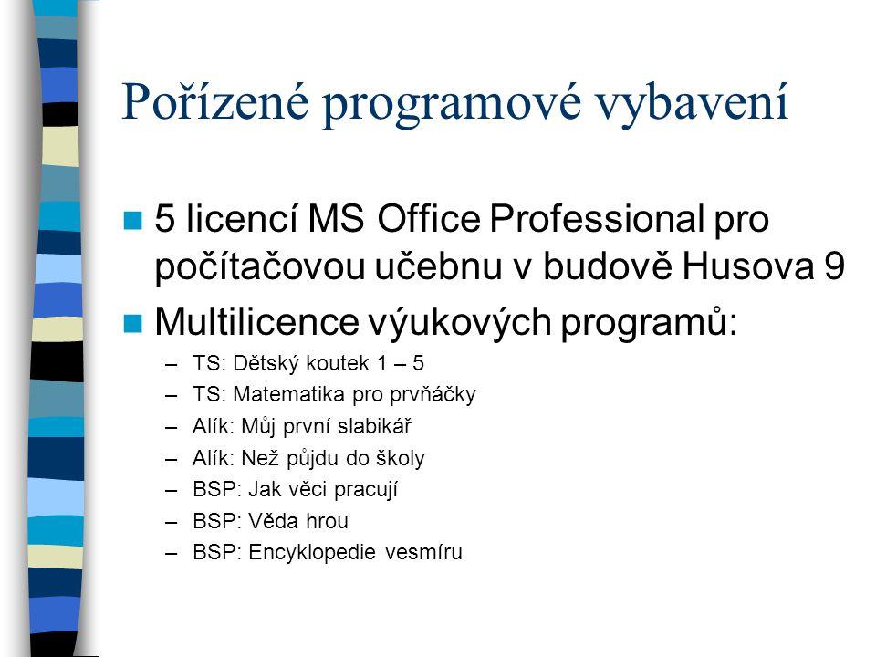 Pořízené programové vybavení  5 licencí MS Office Professional pro počítačovou učebnu v budově Husova 9  Multilicence výukových programů: –TS: Dětsk