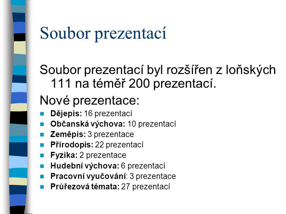 Soubor prezentací Soubor prezentací byl rozšířen z loňských 111 na téměř 200 prezentací. Nové prezentace:  Dějepis: 16 prezentací  Občanská výchova: