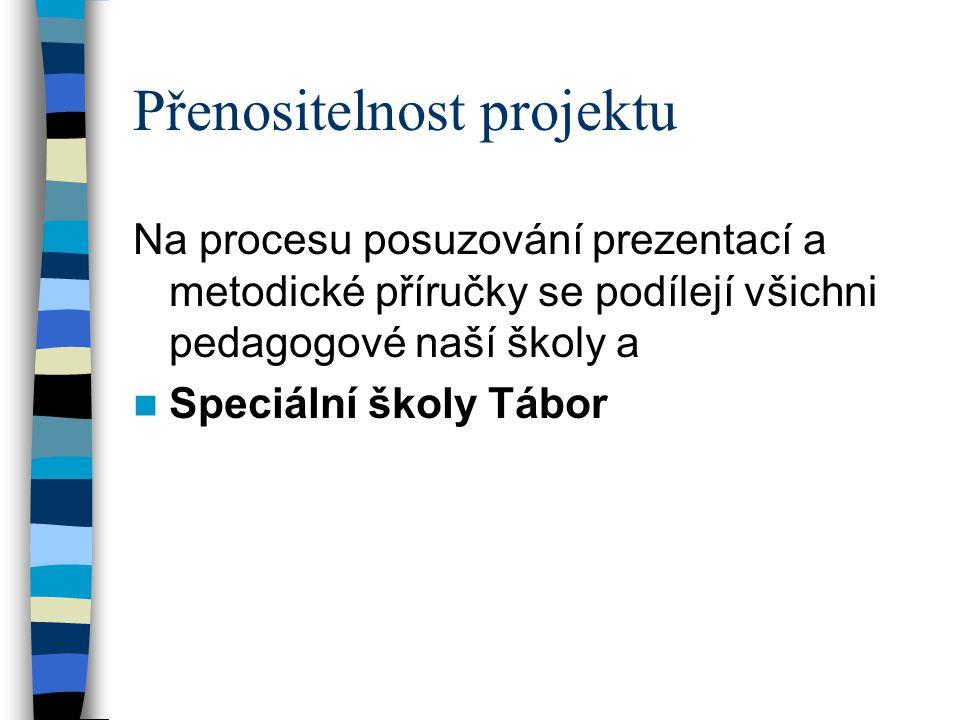 Přenositelnost projektu Na procesu posuzování prezentací a metodické příručky se podílejí všichni pedagogové naší školy a  Speciální školy Tábor