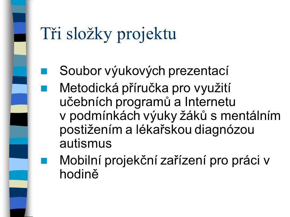 Tři složky projektu  Soubor výukových prezentací  Metodická příručka pro využití učebních programů a Internetu v podmínkách výuky žáků s mentálním p