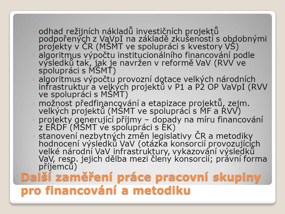 Další zaměření práce pracovní skupiny pro financování a metodiku ◦odhad režijních nákladů investičních projektů podpořených z VaVpI na základě zkušeno