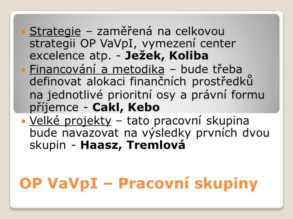 OP VaVpI – Pracovní skupiny  Strategie – zaměřená na celkovou strategii OP VaVpI, vymezení center excelence atp. - Ježek, Koliba  Financování a meto